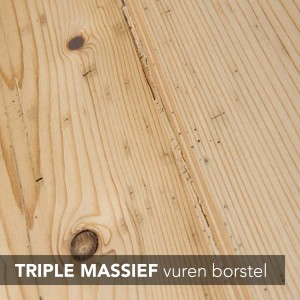 triple massief vuren borstel